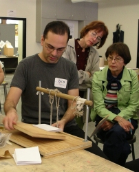 Ben Colborn shows how to sew a book using a sewing frame